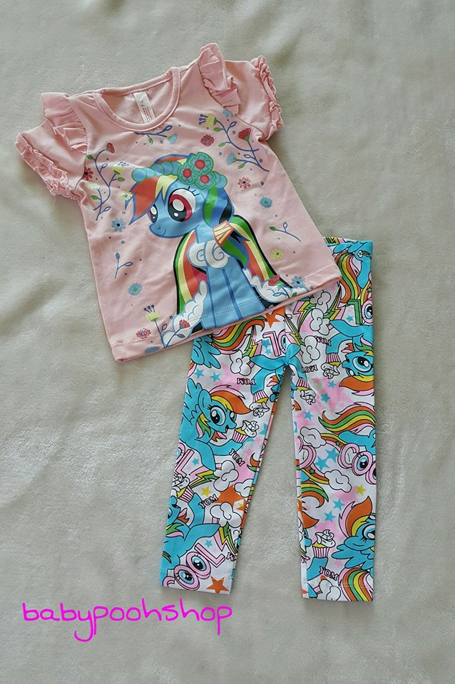 เซ็ท เสื้อยืดแขนสั้นลายโพนี่ Rainbow dash สีชมพู พร้อมเลกกิ้งสีขาว (งานป้ายผิด) size 1-2y