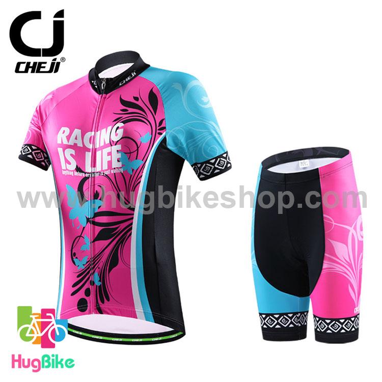 ชุดจักรยานผู้หญิงแขนสั้นขาสั้น CheJi 16 (02) สีชมพูฟ้าดำ ลายผีเสื้อ Recing is life สั่งจอง (Pre-order)