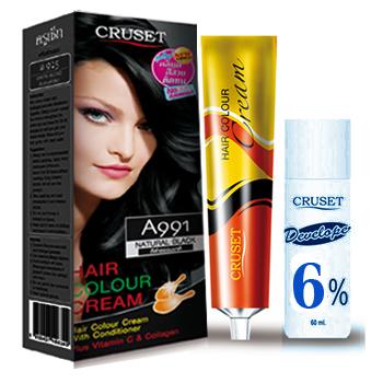 ครูเซ็ท ครีมย้อมผม รุ่น A เอ 991 สีดำธรรมชาติ Cruset Hair Colour Cream A Series A 991 Natural Black 60 ml.