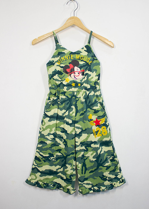 Disney : จั๊มสูท สายเดี่ยว ลายมินนี่เมาส์ สีเขียวทหาร size S (4-6y) / M (6-8y)