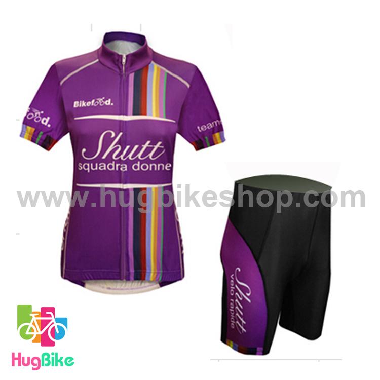 ชุดจักรยานผู้หญิงแขนสั้นขาสั้น Shutt 16 (01) สีม่วง สั่งจอง (Pre-order)