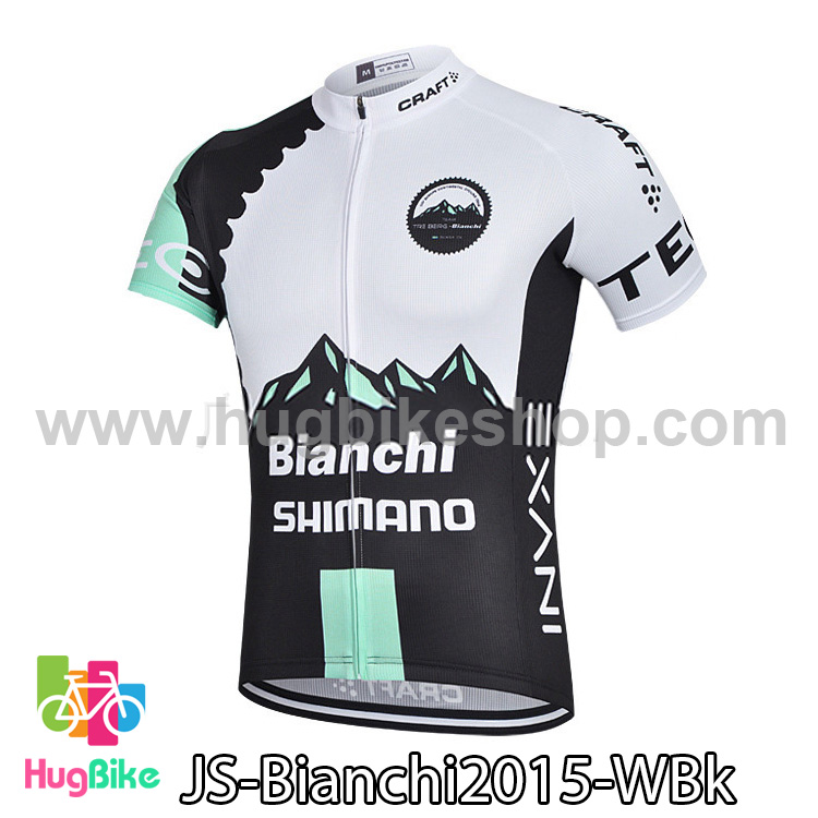 เสื้อจักรยานแขนสั้นทีม Bianchi 2015 สีขาวดำ สั่งจอง (Pre-order)