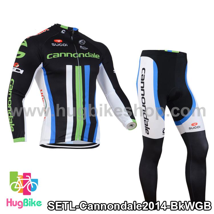 ชุดจักรยานแขนยาวทีม Cannondale 14 สีดำขีดขาวเขียวฟ้า สั่งจอง (Pre-order)