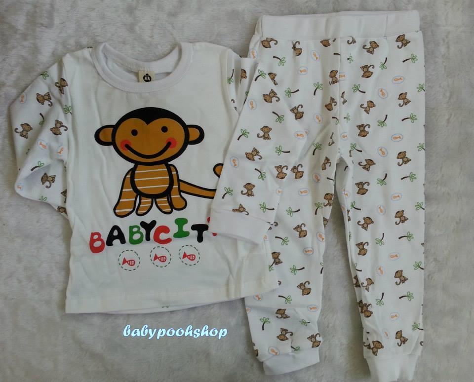 Baby city : ชุดนอนลายลิงจ๋อ size : 80 / 95