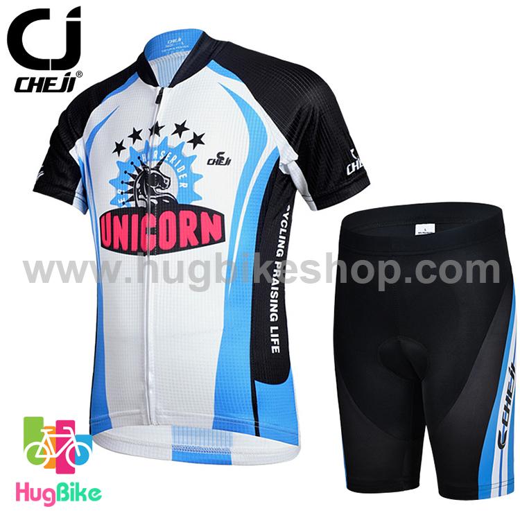 ชุดจักรยานเด็กแขนสั้นขาสั้น CheJi สีดำขาวฟ้าลาย Unicorn