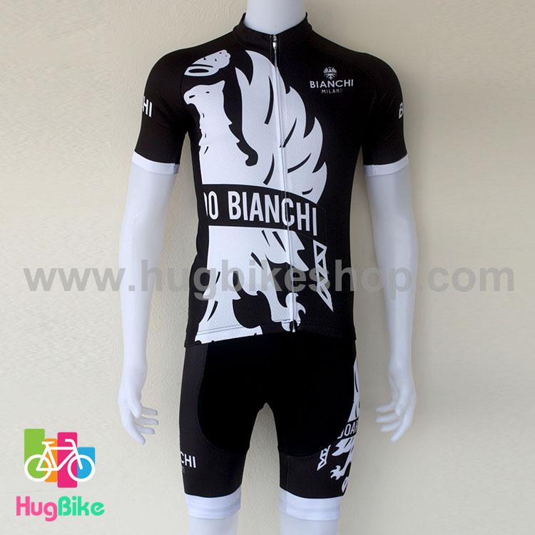 ชุดจักรยานแขนสั้นทีม Bianchi 16 (04) สีดำลายขาว สั่งจอง (Pre-order)