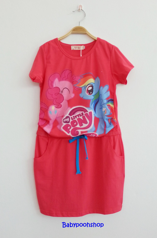 Qi Qi : เดรสโพนี่ มีเชือกผูกที่เอว ผ้ายืด สีแดง size 130 / 140