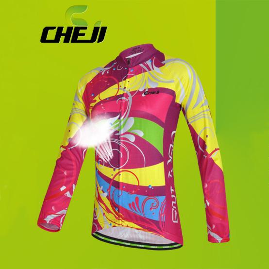 เสื้อจักรยานผู้หญิงแขนยาว CheJi สีชมพูลายเหลือง สั่งจอง (Pre-order)