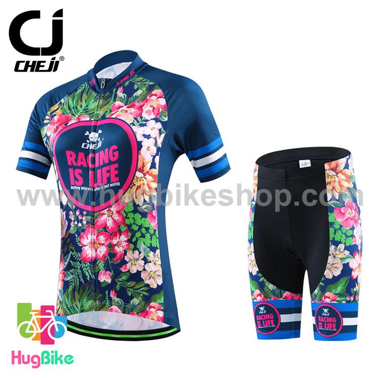 ชุดจักรยานผู้หญิงแขนสั้นขาสั้น CheJi 16 (01) สีน้าเงิน ลายดอกไม้ Recing is life สั่งจอง (Pre-order)