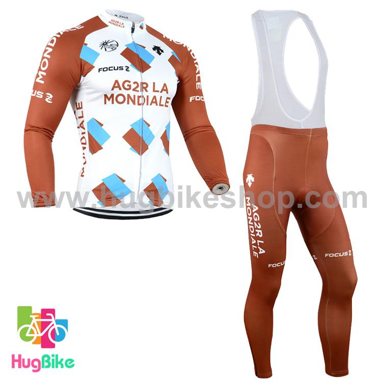 ชุดจักรยานแขนยาวทีม AG2RLA Mondiale 14 (01) สีขาวน้ำตาล กางเกงเอี๊ยม