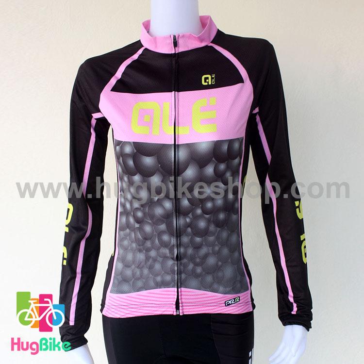 เสื้อจักรยานผู้หญิงแขนยาว ALE 16 (07) สีดำชมพูลายฟองน้ำ