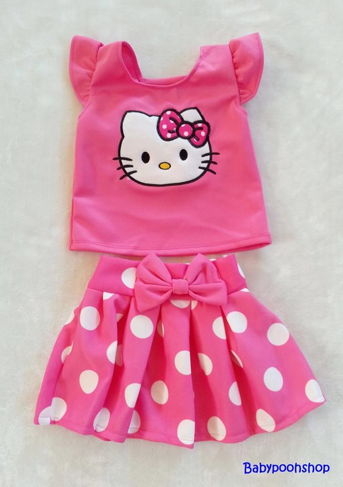 Ploy : Set เสื้อ+กระโปรง ปักลายคิตตี้ สีชมพูเข้ม