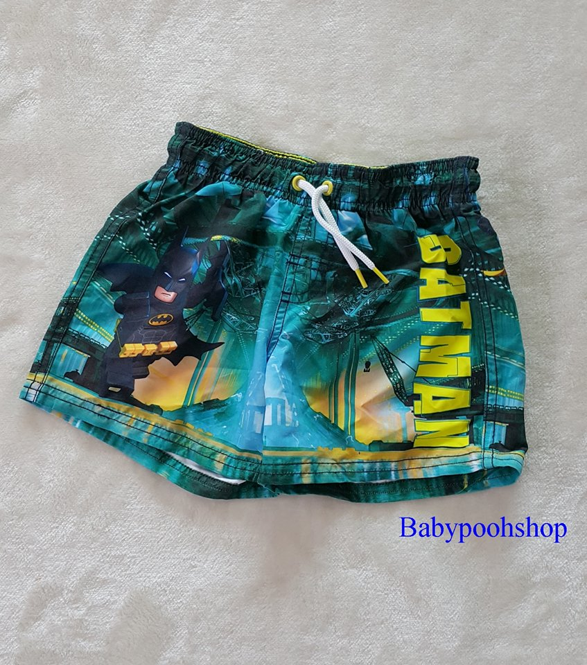 H&M กางเกงผ้ามัน สีเขียว ลาย batman