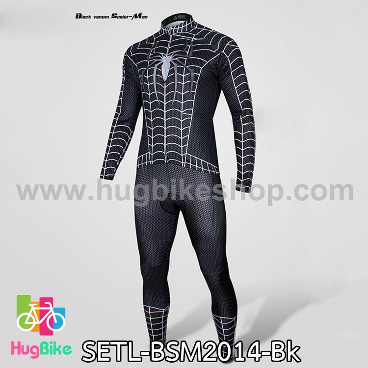 ชุดจักรยานแขนยาว Black Spiderman 14 สีดำ สั่งจอง (Pre-order)
