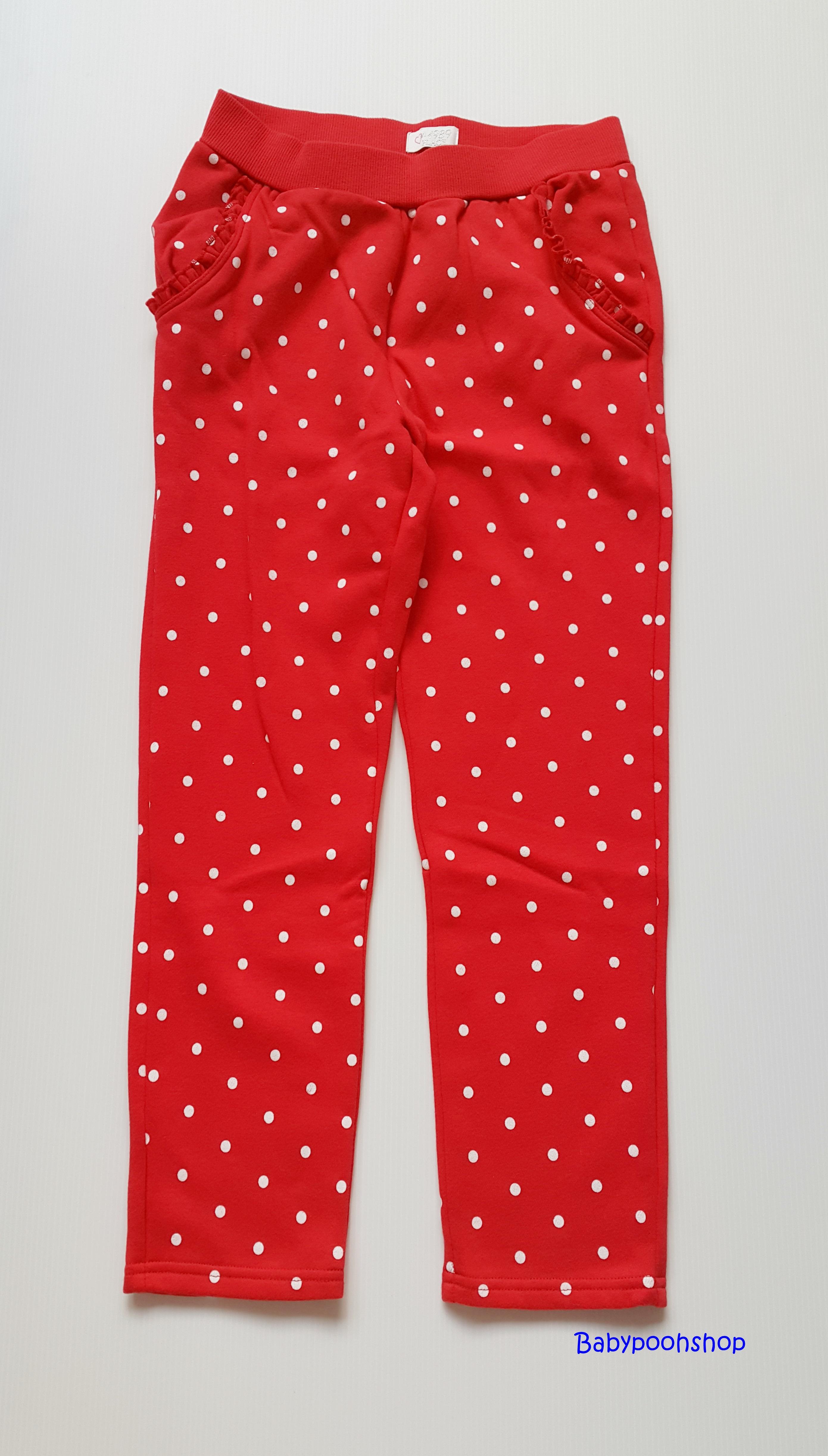 Place : กางเกงขายาวผ้ายืด สีแดงลายจุด size : 10-12y