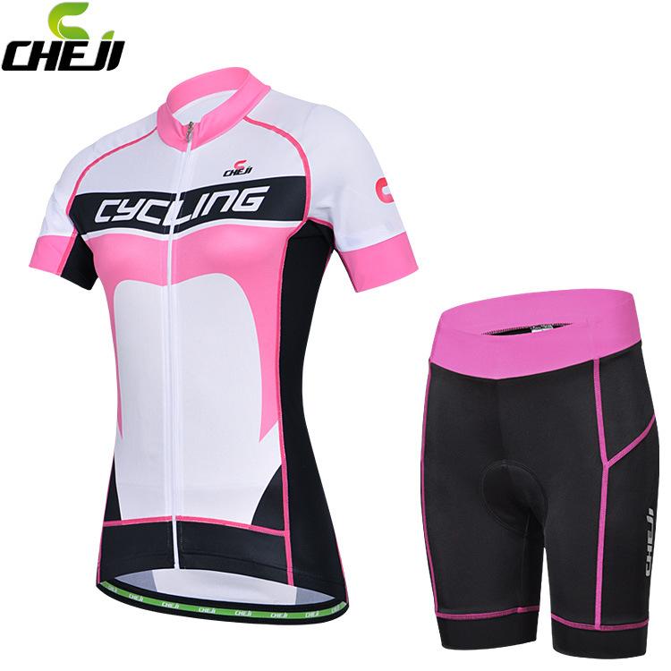 ชุดจักรยานผู้หญิงแขนสั้นขาสั้น CheJi 14 (06) สีขาวชมพูดำ สั่งจอง (Pre-order)