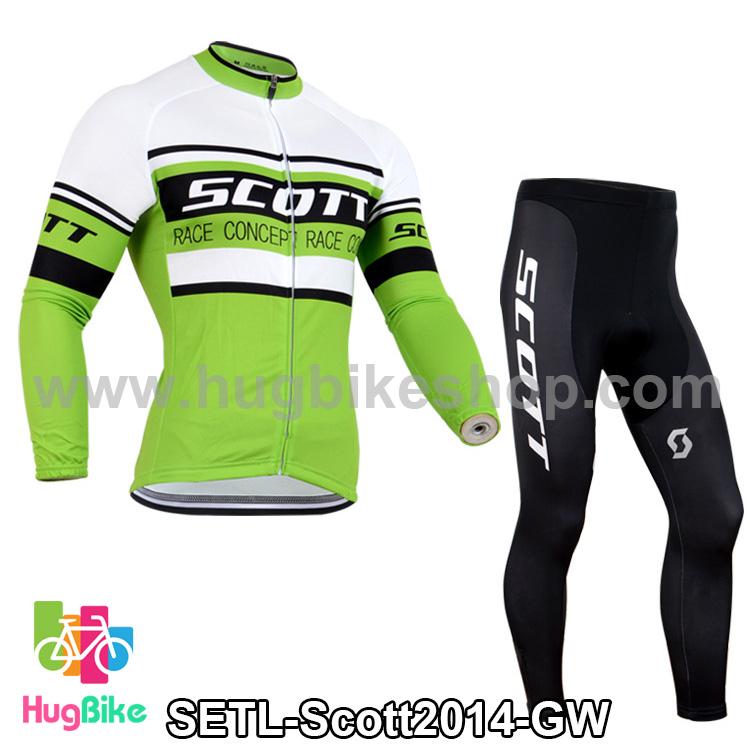 ชุดจักรยานแขนยาวทีม Scott 14 (01) สีเขียวขาว สั่งจอง (Pre-order)