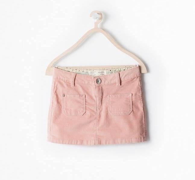 Zara girls : กระโปรงผ้าลูกฟูก เนื้อนิ่ม (งานช้อป) มีสายปรับเอวด้วยค่ะ 2 สี สีชมพู สีน้ำตาล