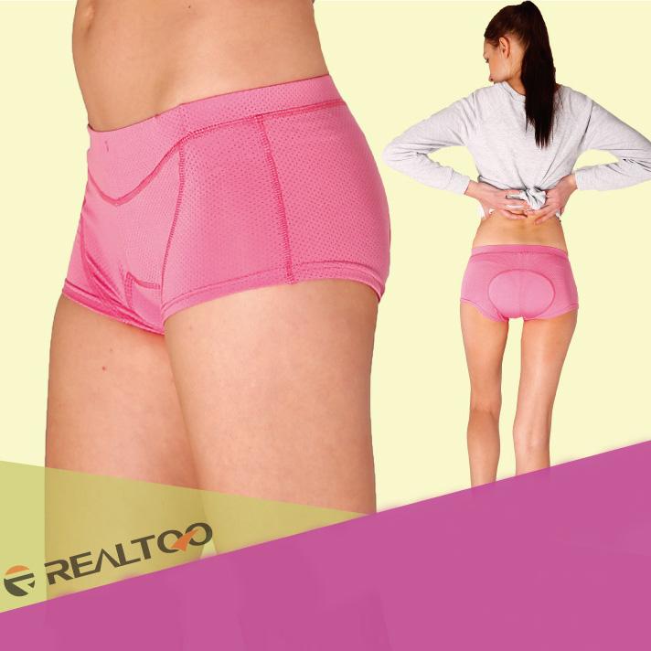 กางเกงจักรยาน Boxer REALTOO เว้าขาสูง กางเกงสีชมพู เป้าเจลสีชมพู