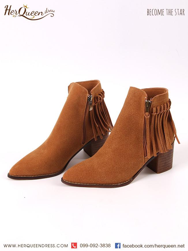 เช่ารองเท้า &#x2665 รองเท้าหนังสั้น ส้นตัน แต่งพู่ด้านหลัง - สีน้ำตาลอ่อน