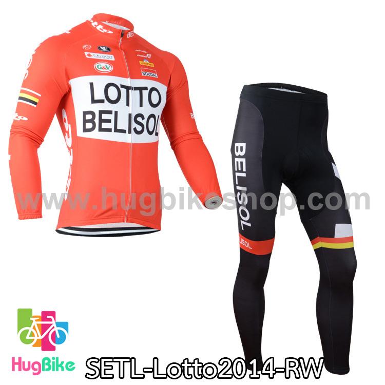 ชุดจักรยานแขนยาวทีม Lotto Belisol 14 สีส้มขาว สั่งจอง (Pre-order)
