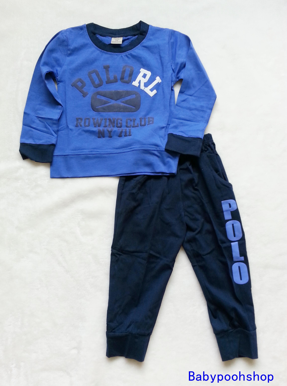 carter's : set เสื้อแขนยาว+ขายาว RL (แขนขาจั๊ม) สีน้ำเงิน size : 2T (1-2y) / 3T (18m-2y)