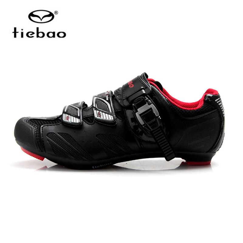 รองเท้าจักรยานเสือหมอบ TIEBAO รุ่น TB36-B1407 สีดำแดง ตัวรัดออโต้