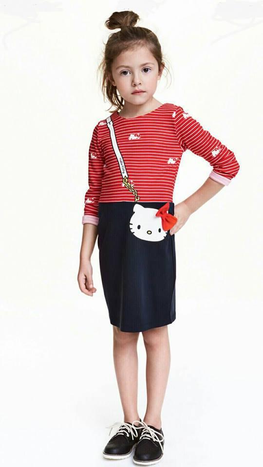 H&M : ชุดเดรสคิตตี้แขนยาว ผ้ายืดcotton size : 1-2y / 2-4y / 4-6y / 10-12y