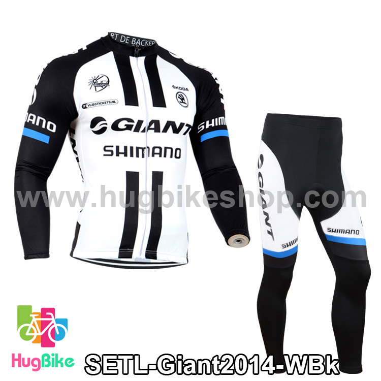 ชุดจักรยานแขนยาวทีม Giant 14 สีขาวดำ