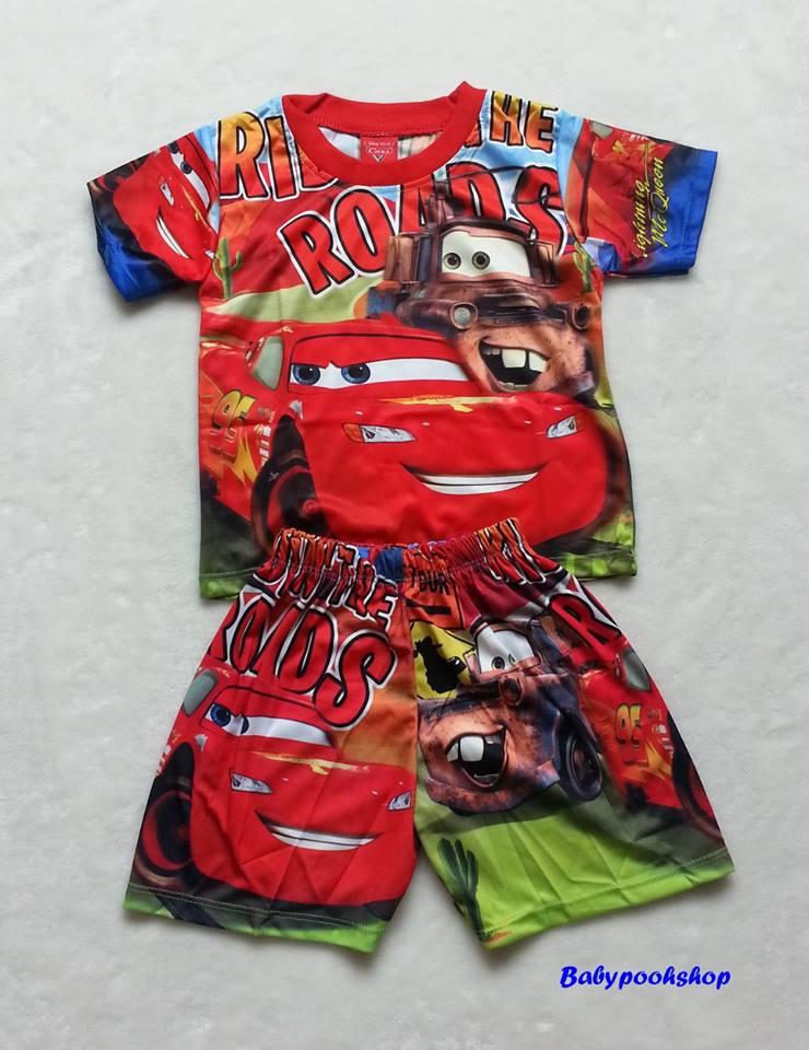 Disney : เสื้อ+กางเกงพิมพ์ลาย คาร์ สีแดง-น้ำเงินผ้ามัน