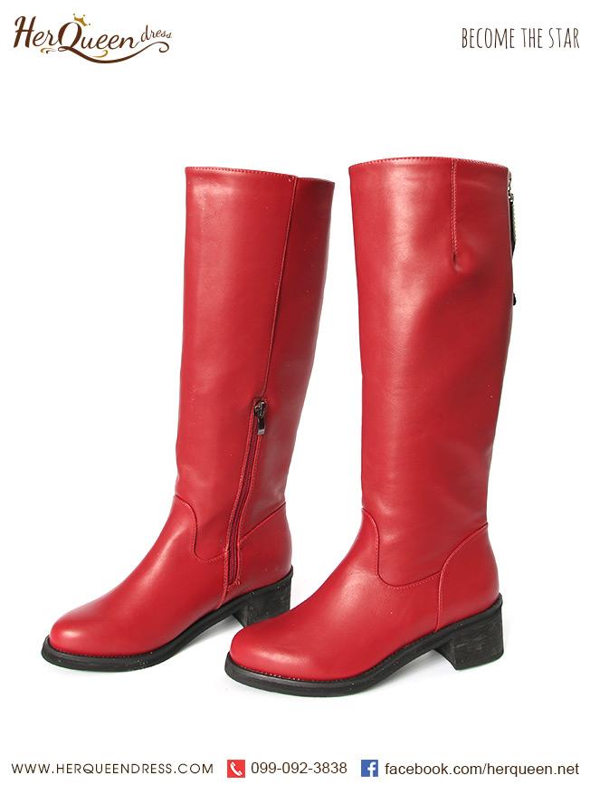 เช่ารองเท้า &#x2665 รองเท้าบู๊ท ยาวใต้เข่า ซิปหลัง - สีแดง