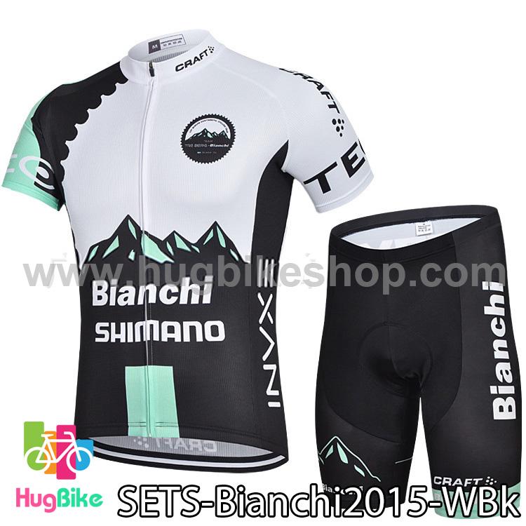 ชุดจักรยานแขนสั้นทีม Bianchi 15 (02) สีขาวดำ สั่งจอง (Pre-order)