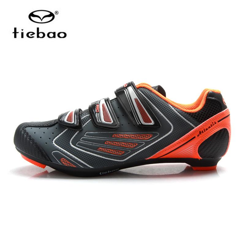 รองเท้าจักรยานเสือหมอบ TIEBAO รุ่น TB36-B1521 สีเทาส้ม