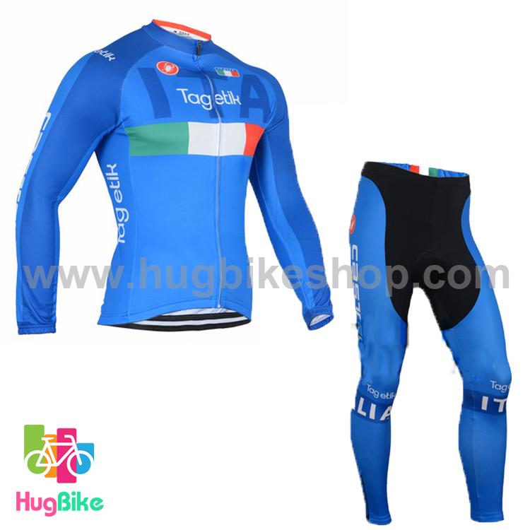 ชุดจักรยานแขนยาวทีม Italia 16 สีฟ้า