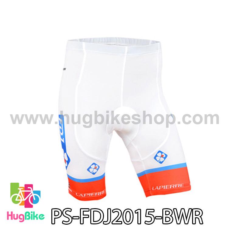 กางเกงจักรยานขาสั้นทีม FDJ 15 สีขาว