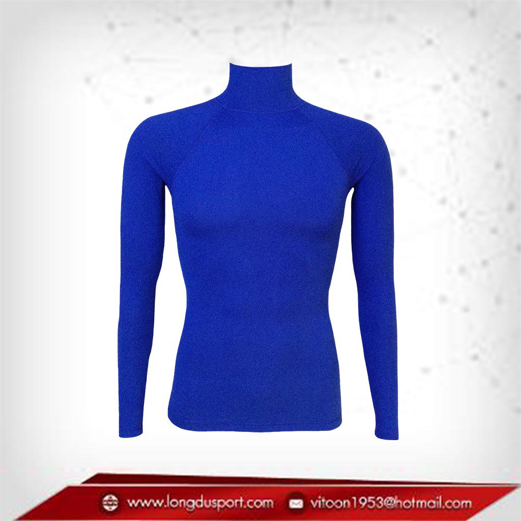 Body Fit / Base Layer เสื้อรัดรูป คอตั้ง แขนยาว สีน้ำเงิน mediumblue