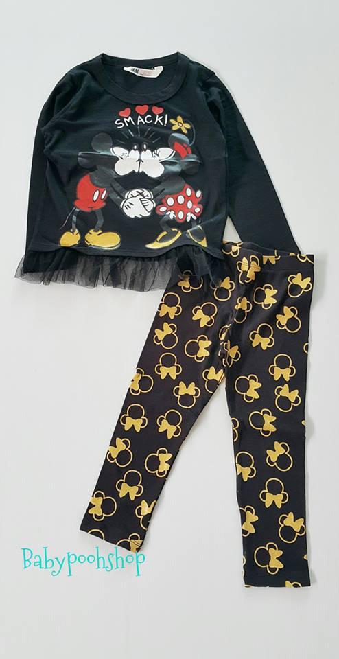 H&M : set เสื้อแขนยาว ชายเสื้อมีระบายสกรีนลาย มิกกี้ มินนี่ สีดำ มาพร้อมเลกกิ้ง เข้าชุดกัน size : 2-4y / 6-8y