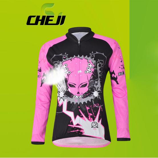 เสื้อจักรยานผู้หญิงแขนยาว CheJi สีดำชมพูลาย Devil Gear สั่งจอง (Pre-order)
