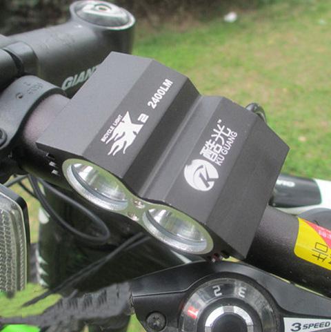 ไฟหน้าจักรยาน CREE XM-L T6 LED 2 ดวง ความสว่าง 2400 Lumen พร้อมแบตเตอรี่ครบชุด (DC)