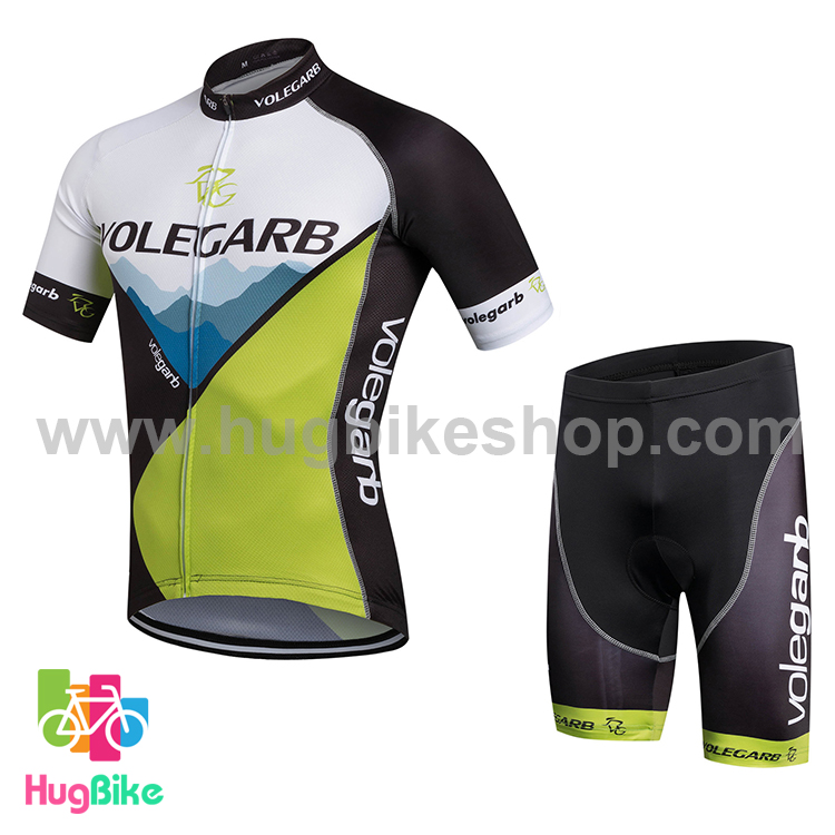 ชุดจักรยานแขนสั้น Volegarb 16 (09) สีดำเขียวขาว