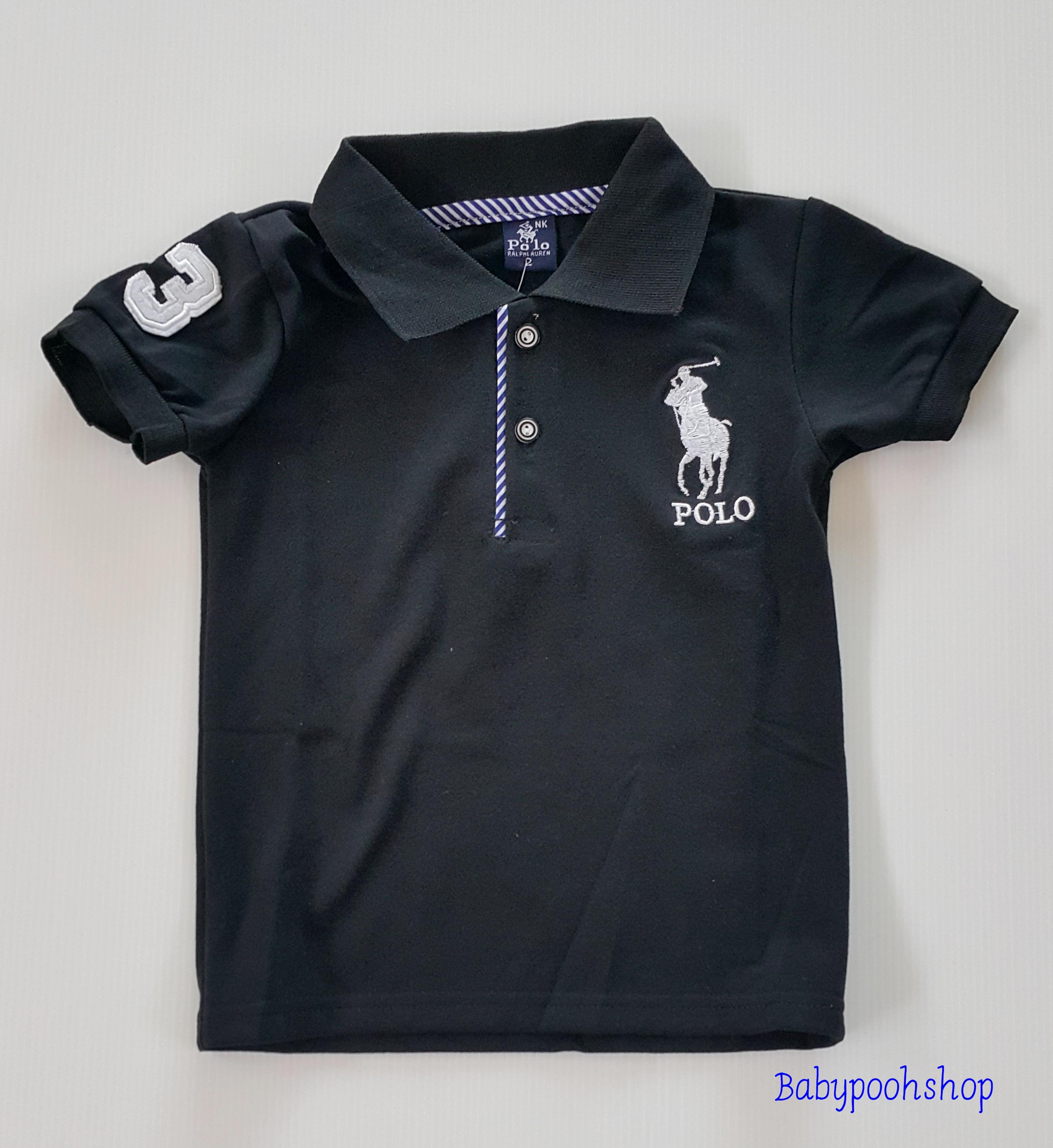 Polo : เสื้อคอปก Polo เด็กเล็ก สีดำ size : 2 (2-3y)