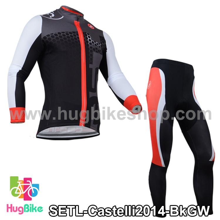 ชุดจักรยานแขนยาวทีม Castelli 14 สีดำเทาขาว กางเกงแถบแดง