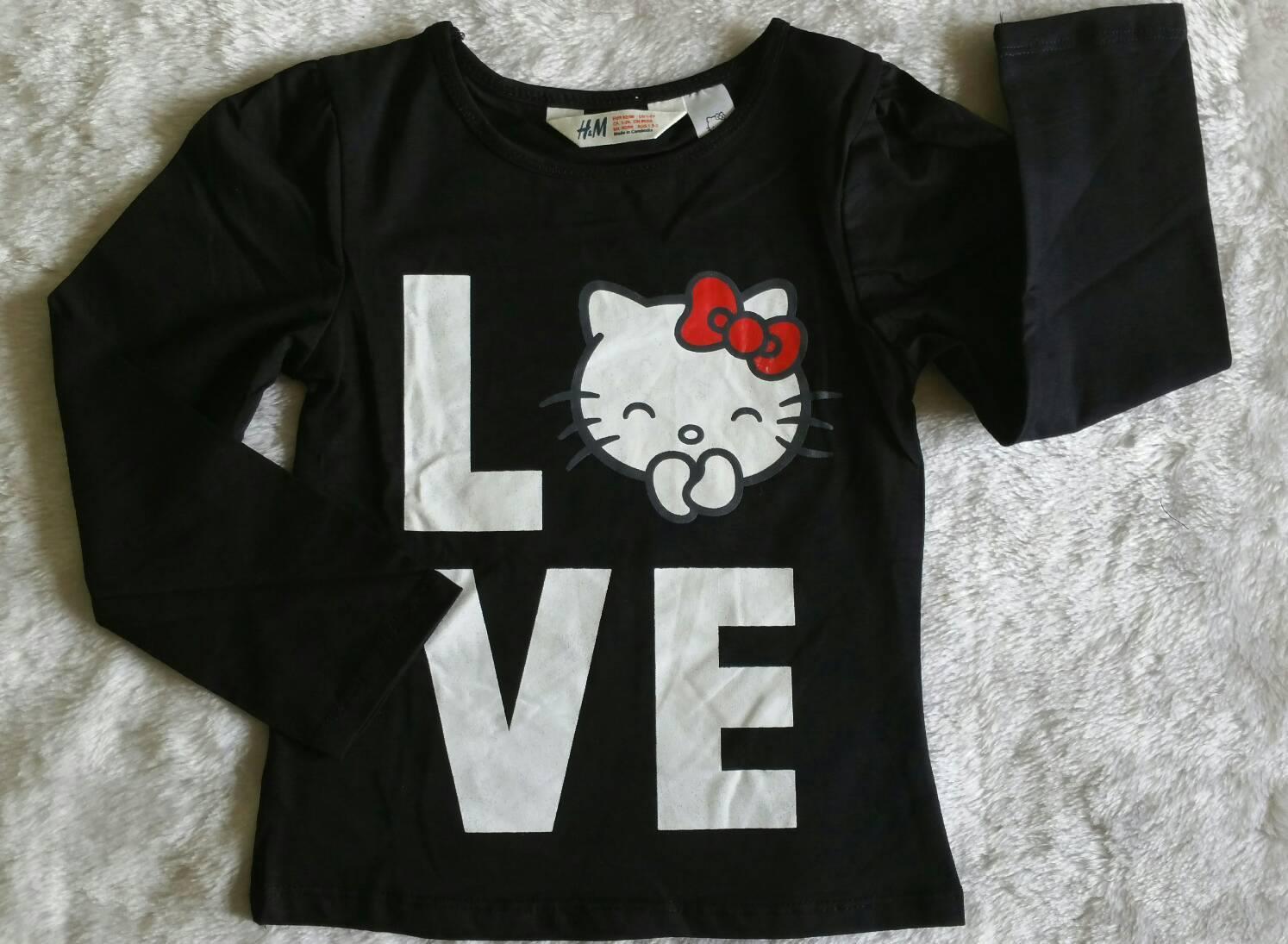 เสื้อยืดแขนยาว H&M kitty สีดำ size : 2-4y / 4-6y