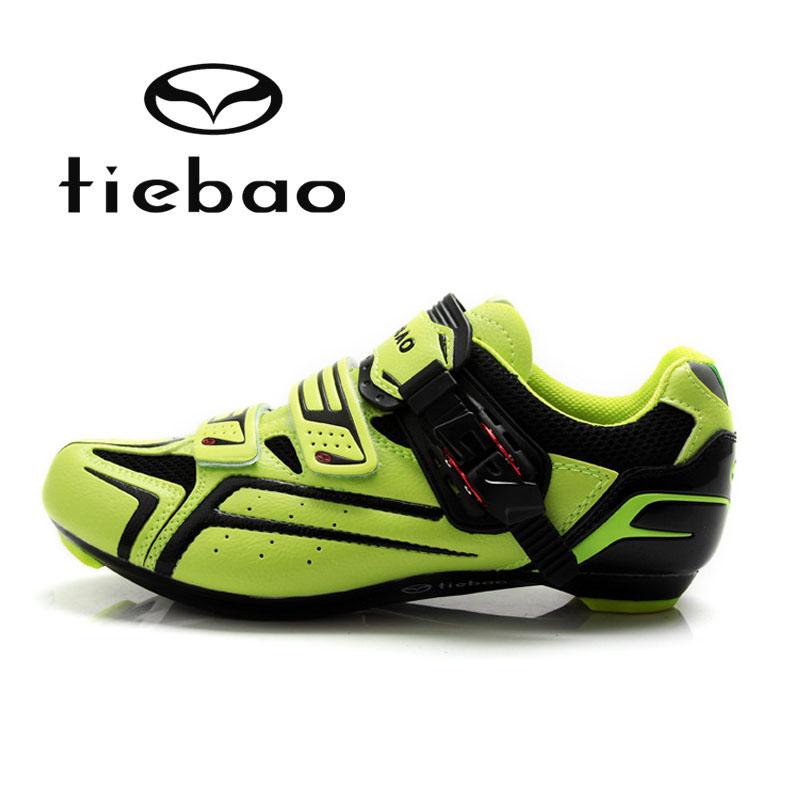 รองเท้าจักรยานเสือหมอบ TIEBAO รุ่น TB16-B1268 สีเขียวดำ ตัวรัดออโต้