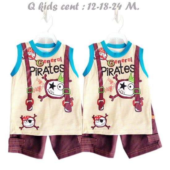 Q kids cent ชุดเสื้อกล้ามลาย Pirates พร้อมกางเกงผ้ายีนส์