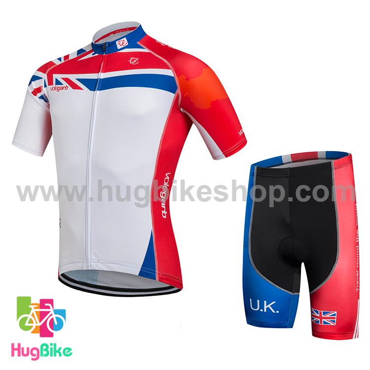 ชุดจักรยานแขนสั้น Volegarb 16 (10) สีขาวแดงลายธงชาติอังกฤษ