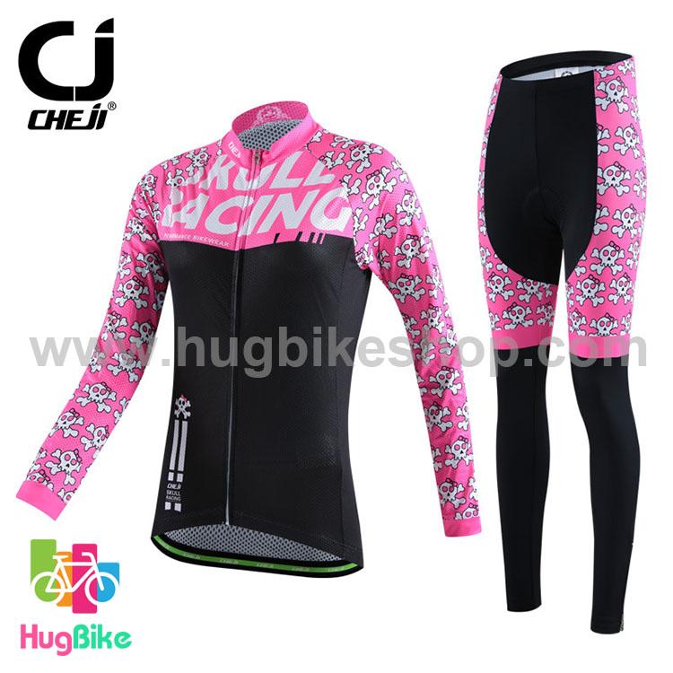 ชุดจักรยานผู้หญิงแขนยาวขายาว CheJi 15 (04) สีชมพูดำ Skull recing