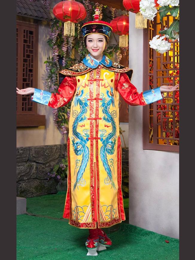 เช่าชุดแฟนซี &#x2665 ชุดแฟนซี ชุดฮองเฮา เซ็ทใหญ่ - สีเหลืองแขนแดง มังกรฟ้า