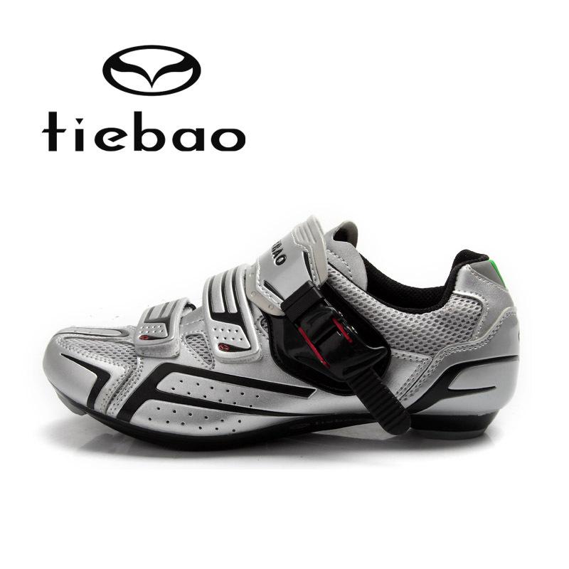 รองเท้าจักรยานเสือหมอบ TIEBAO รุ่น TB16-B1268 สีเงินดำ ตัวรัดออโต้