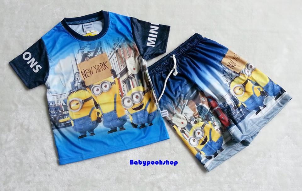 ME : Set เสื้อ Minion + กางเกง ผ้ามันลื่น Size : XL (8-9y)